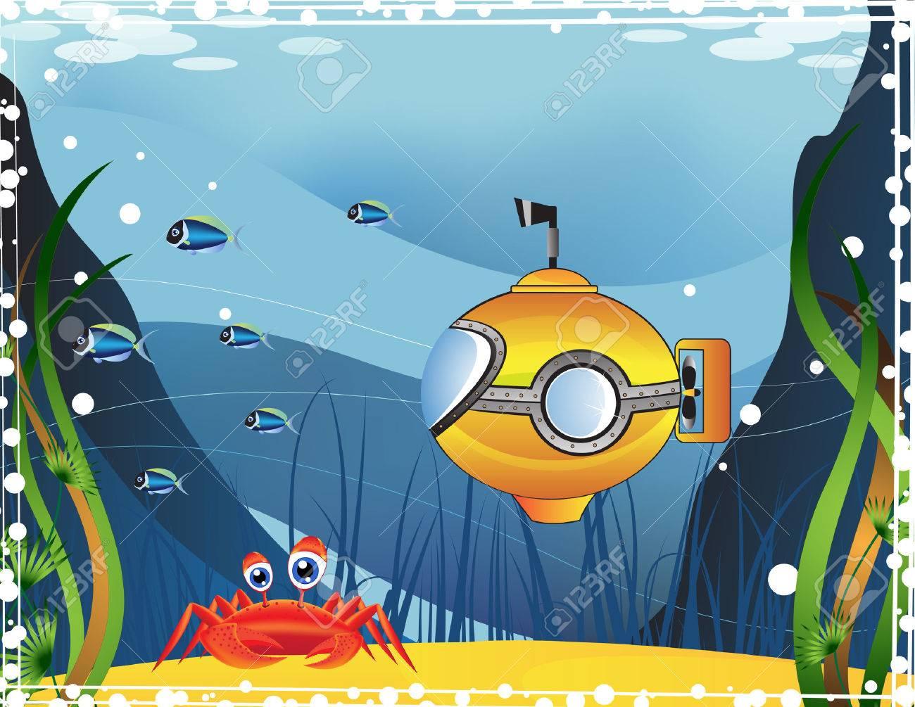 Yellow submarine and marine inhabitants under water Stock Vector - 22910604