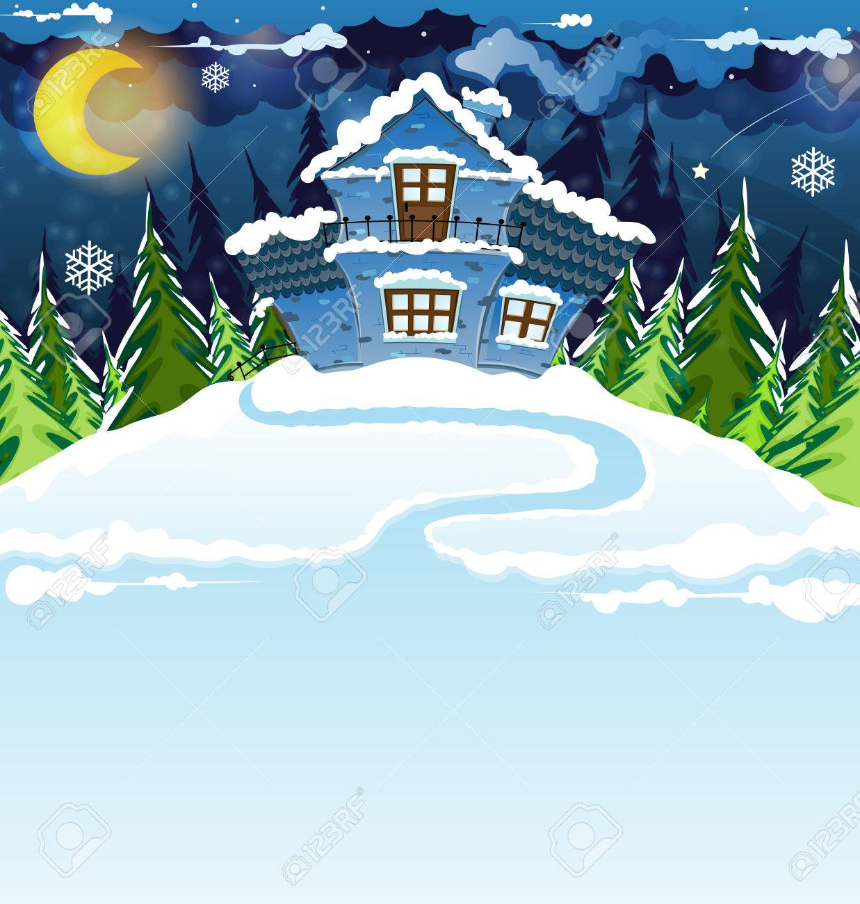 Fairy house with blue tiles in a pine forest. Winter night landscape. - 23768671