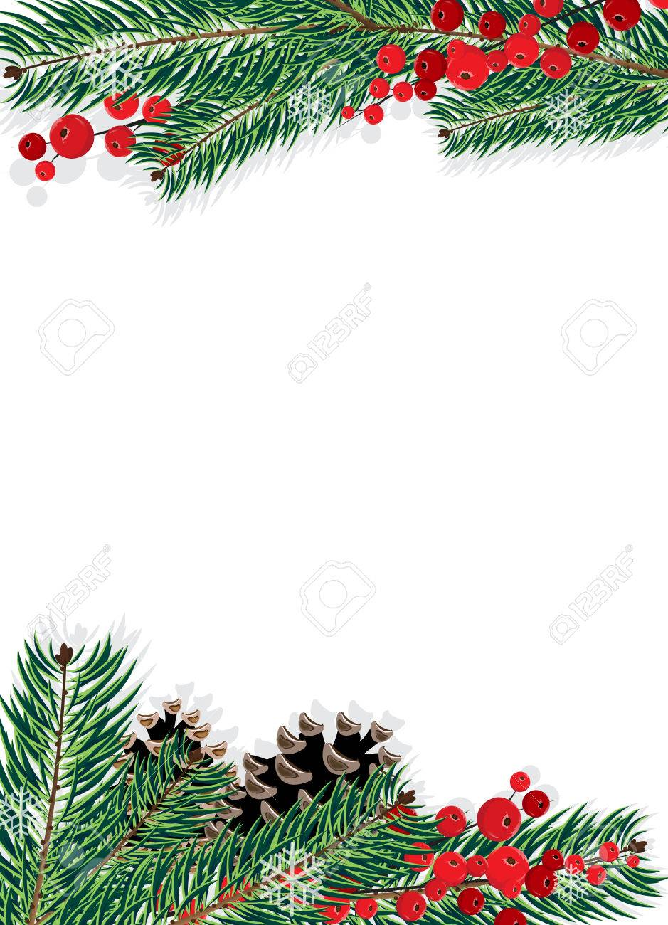 Spruce branches with cones and red berries on a white background - 23768681