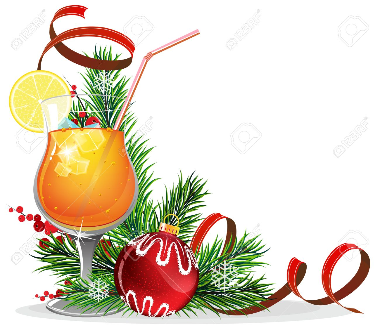 Orange Cocktail With Lemon And Ice Cubes And Christmas Decorations