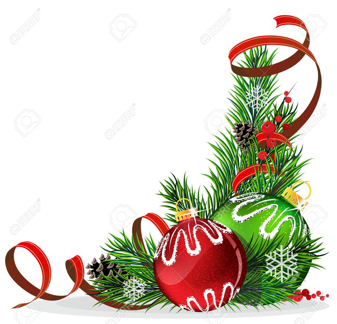 Christmas baubles with ribbon and fir tree branches on white background - 24122944