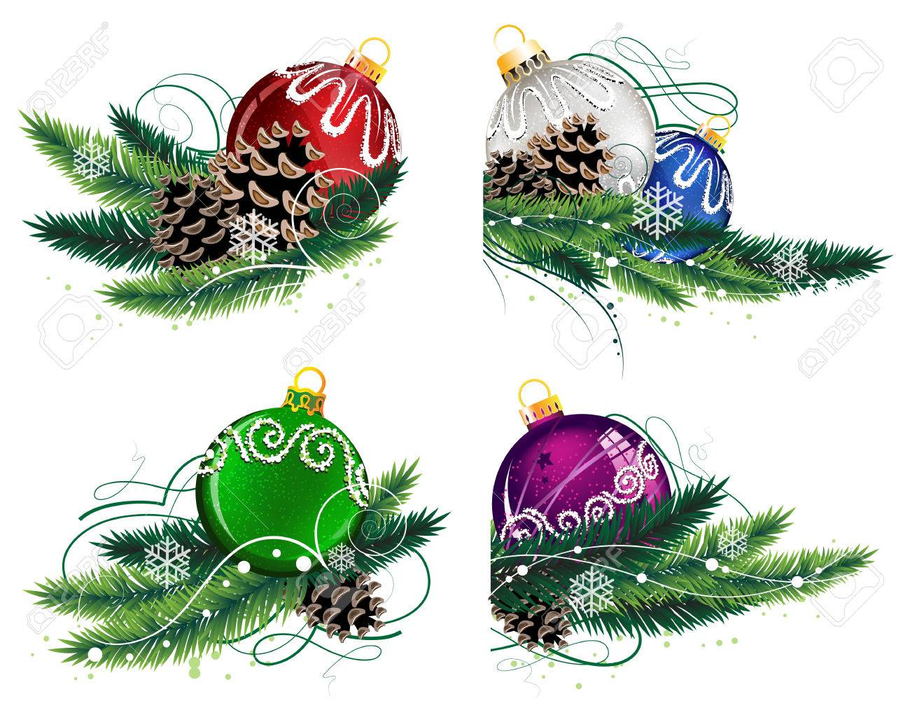 Set of Christmas decorations with pine branches and cones on white - 24634274