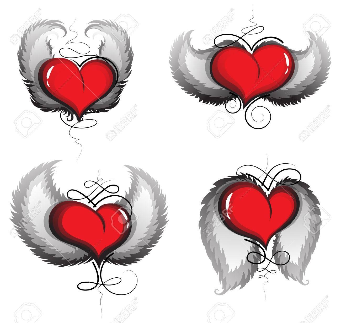 San Valentín Corazones Con Alas Y El Patrón De La Vendimia En Un