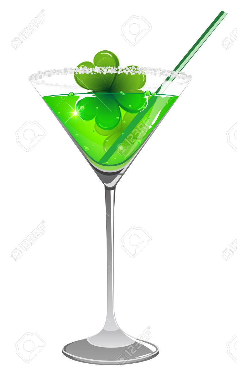 St. Patrick's day cocktail with clover and straw on white background - 25962019