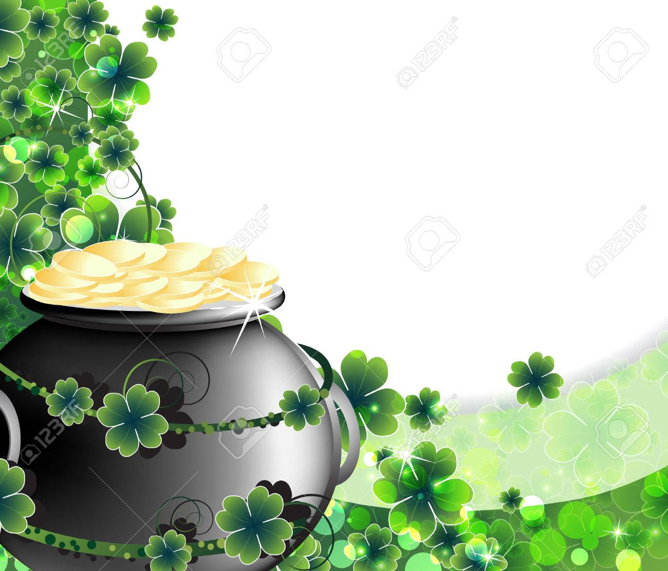 Leprechaun Pot with gold coins on abstract clover background St Patrick - 26528505