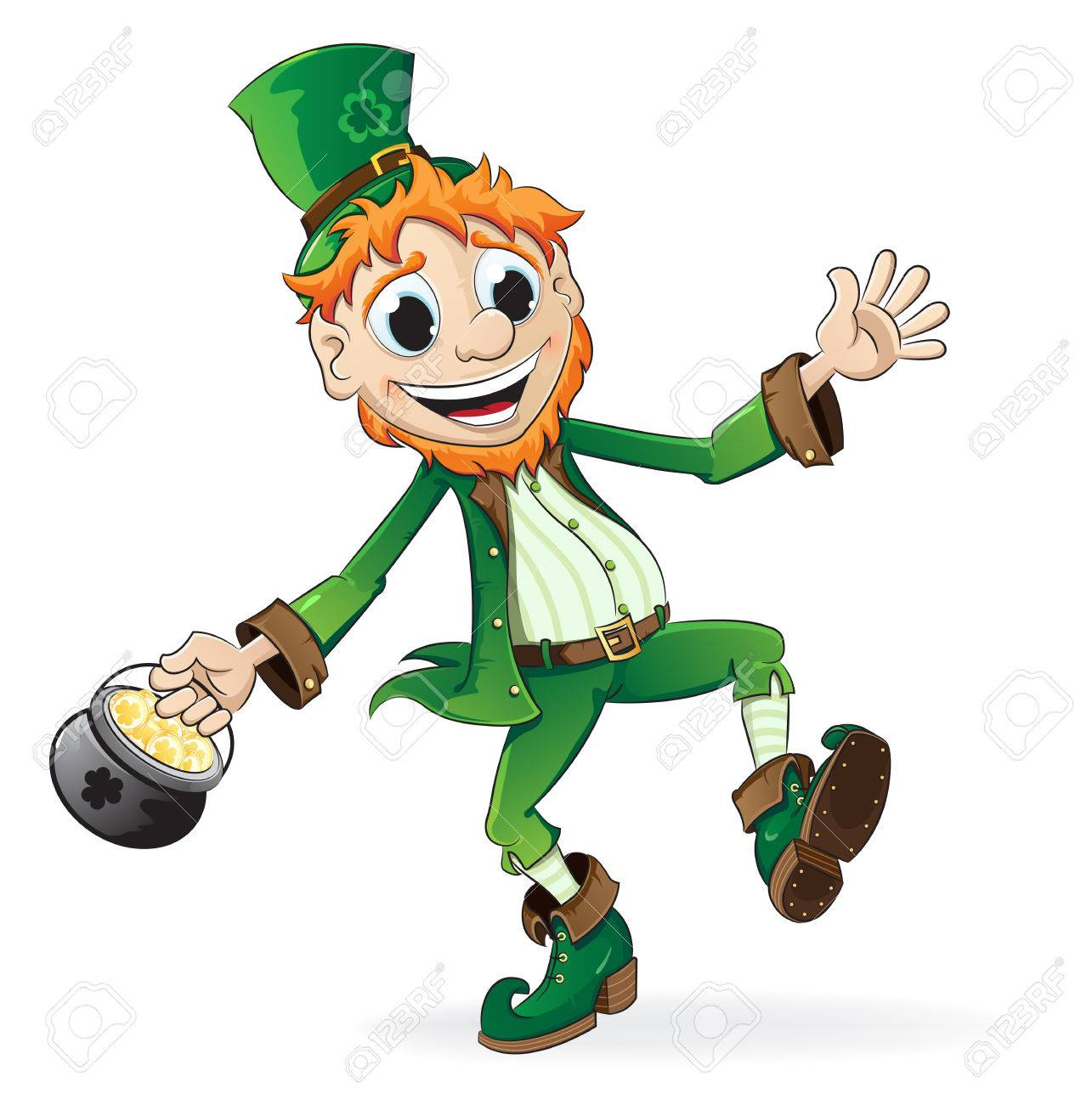 smiling leprechaun holding a pot of gold royalty free cliparts