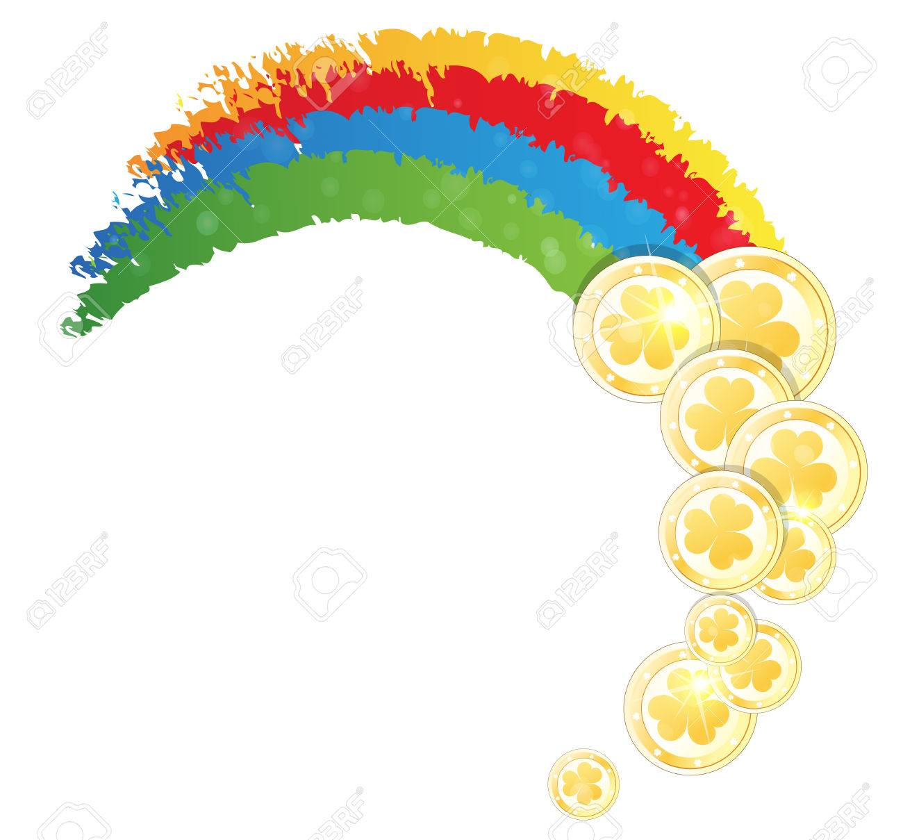rainbow and gold coins on white background st patrick u0027s day
