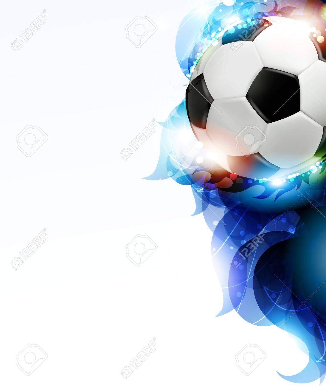 Soccer ball with transparent blue petals on a white background. Abstract soccer background. - 29236035