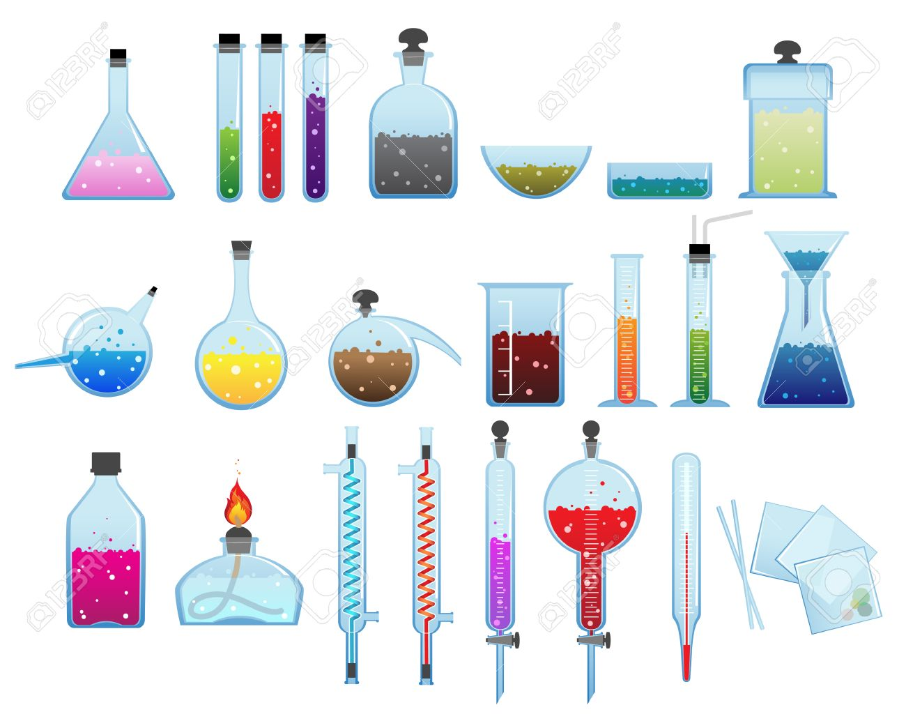 Set of laboratory glassware and equipment on a white background - 30394269