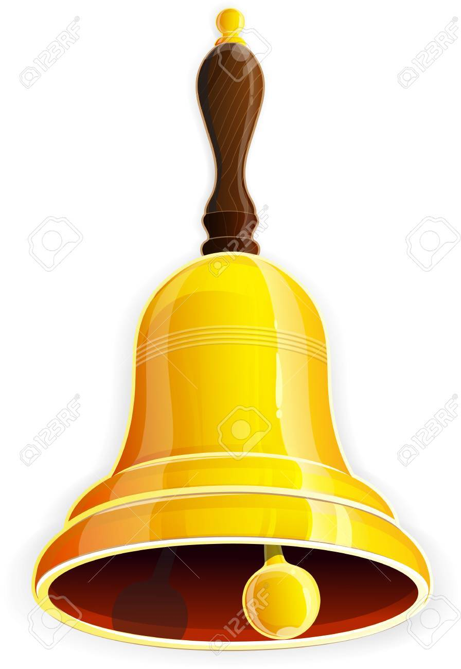 Bronze bell with wooden handle on a white background - 31085974