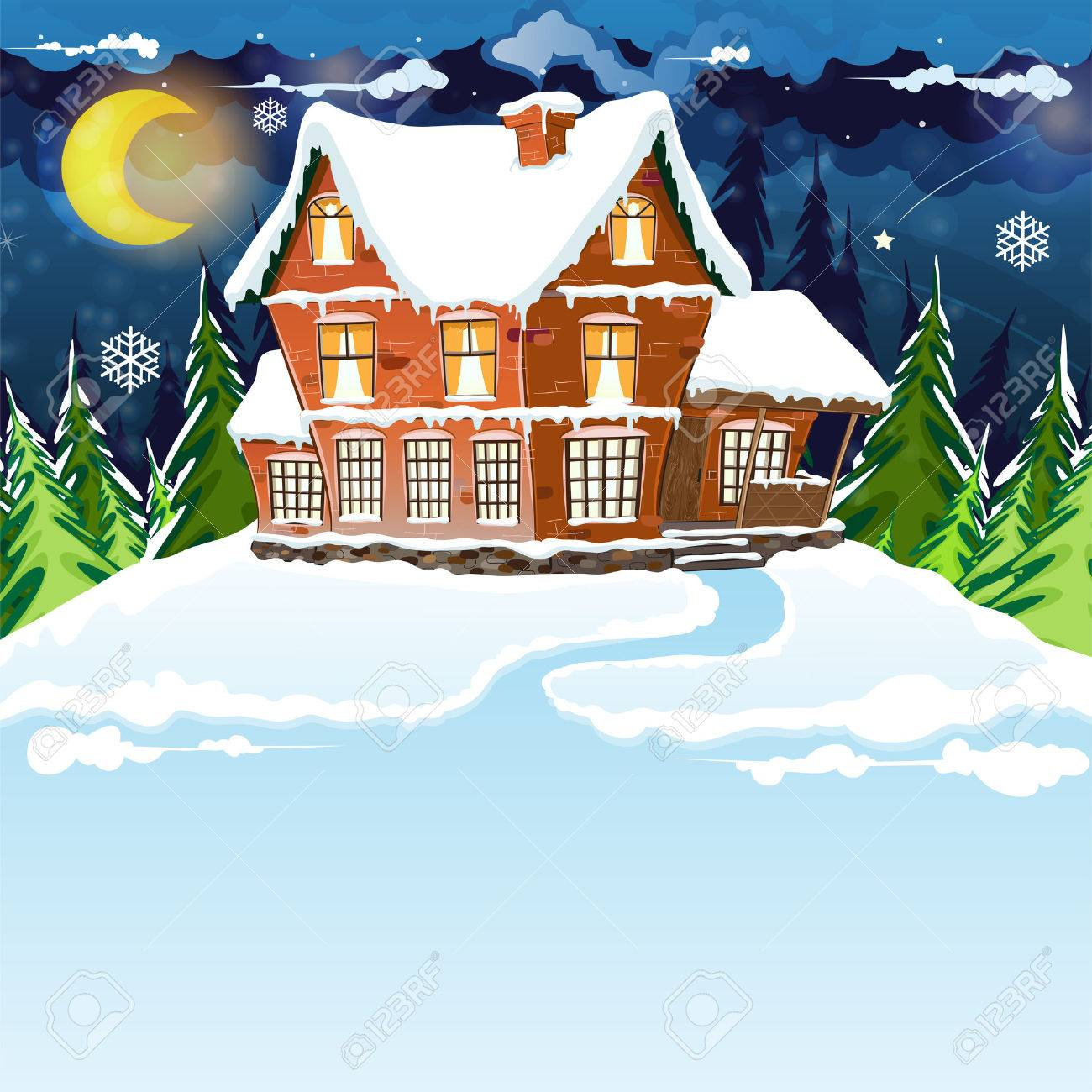 House with snow covered roof in a pine forest. Winter night landscape. - 34064217