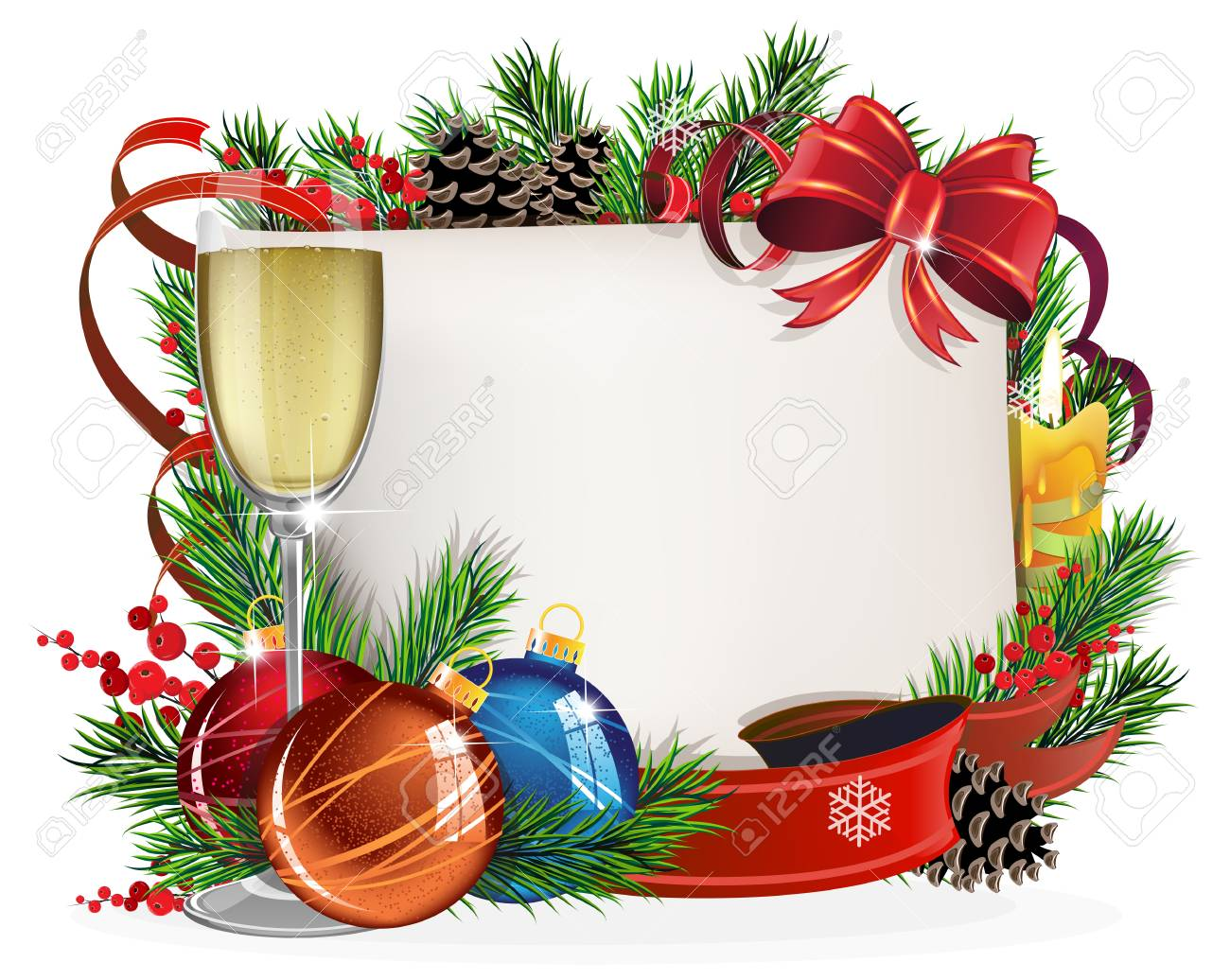Christmas Wreath With Baubles, Parchment And Glass Of Champagne ...