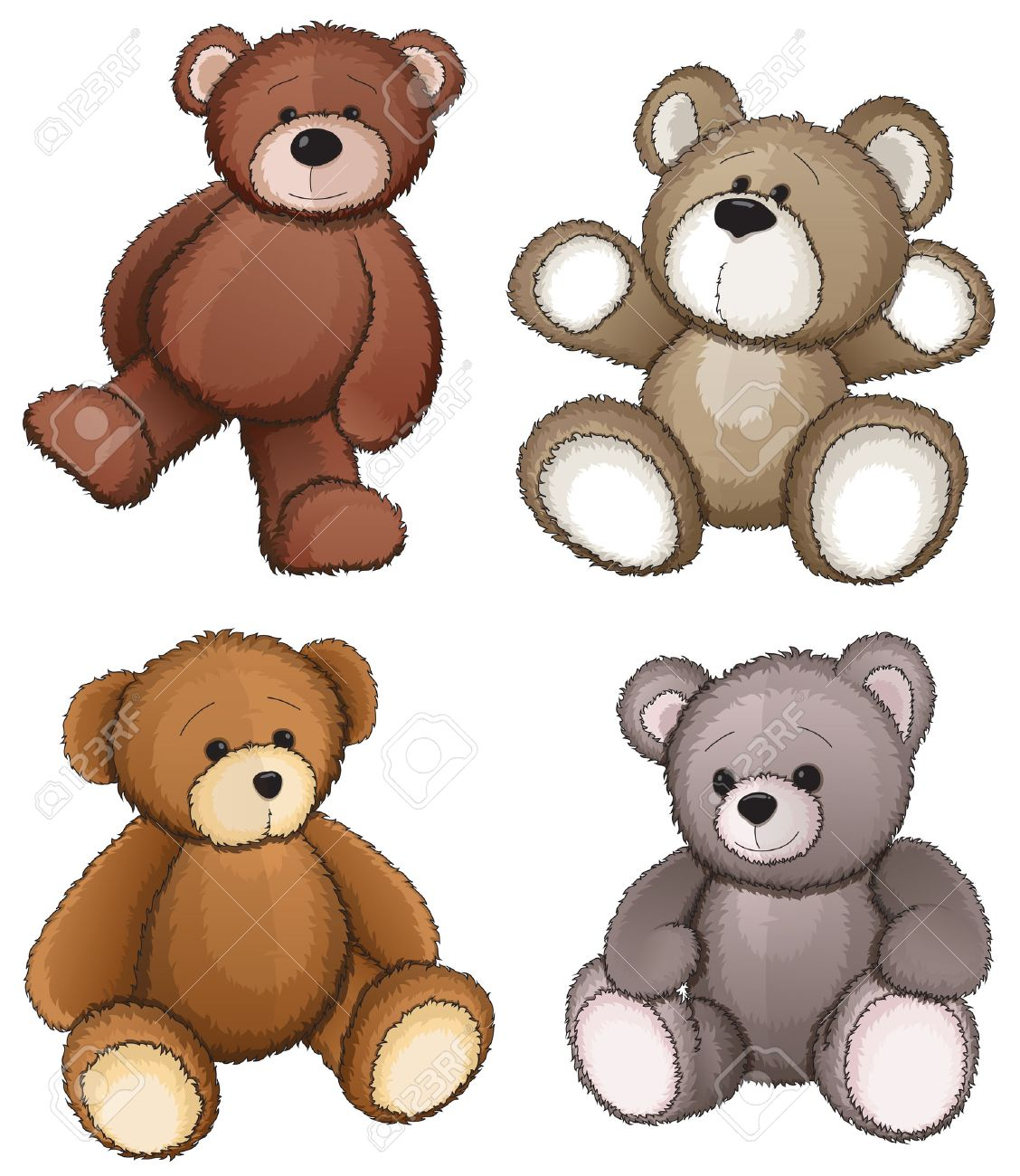 Four teddy bears on a white background - 35905126