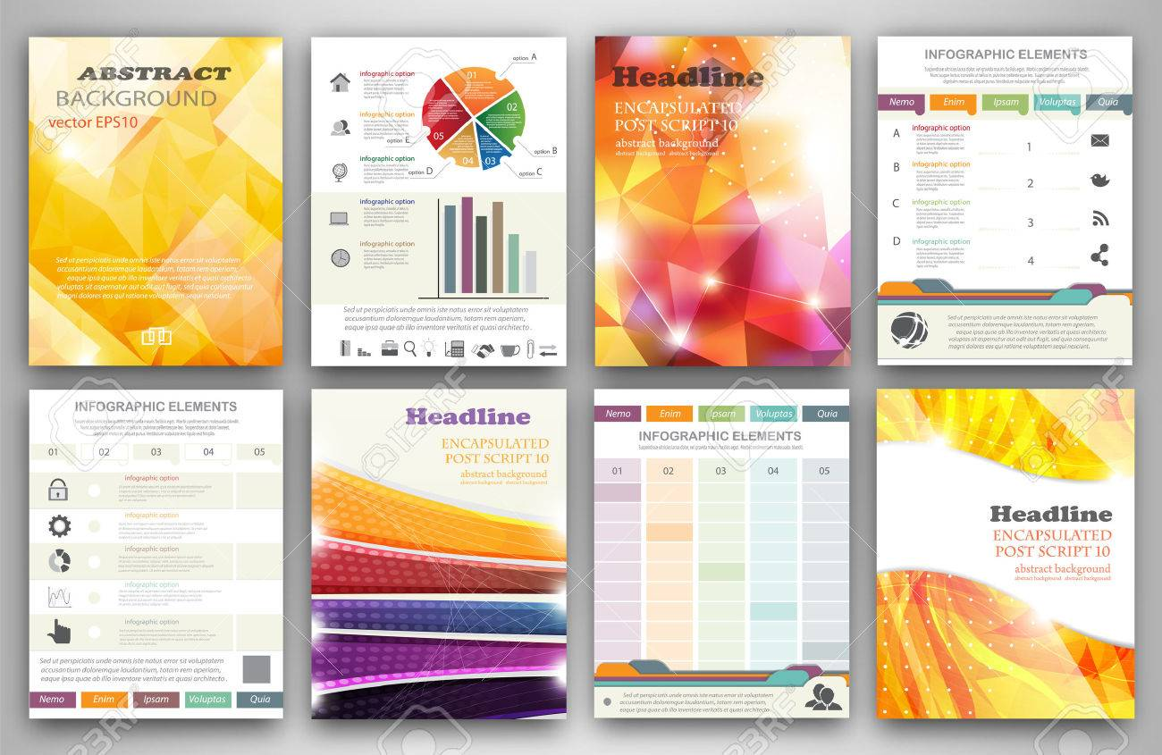 Vector set of flyer and brochure design templates. Business technology internet and networking abstract backgrounds. Concept backgrounds for web and mobile applications. - 36308495