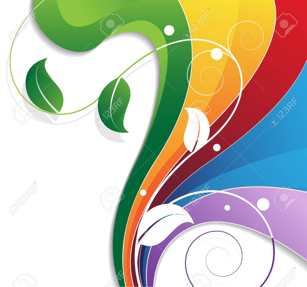 Abstract rainbow background with floral pattern. Environment concept - 36308163