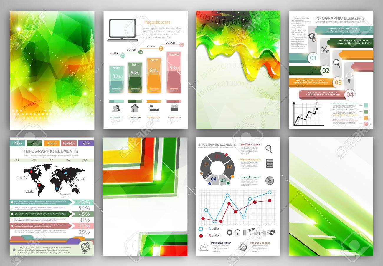 Concept vector set of flyer and brochure design templates. Business technology internet and networking abstract backgrounds. Creative icons and backgrounds for web and mobile applications. - 37176295