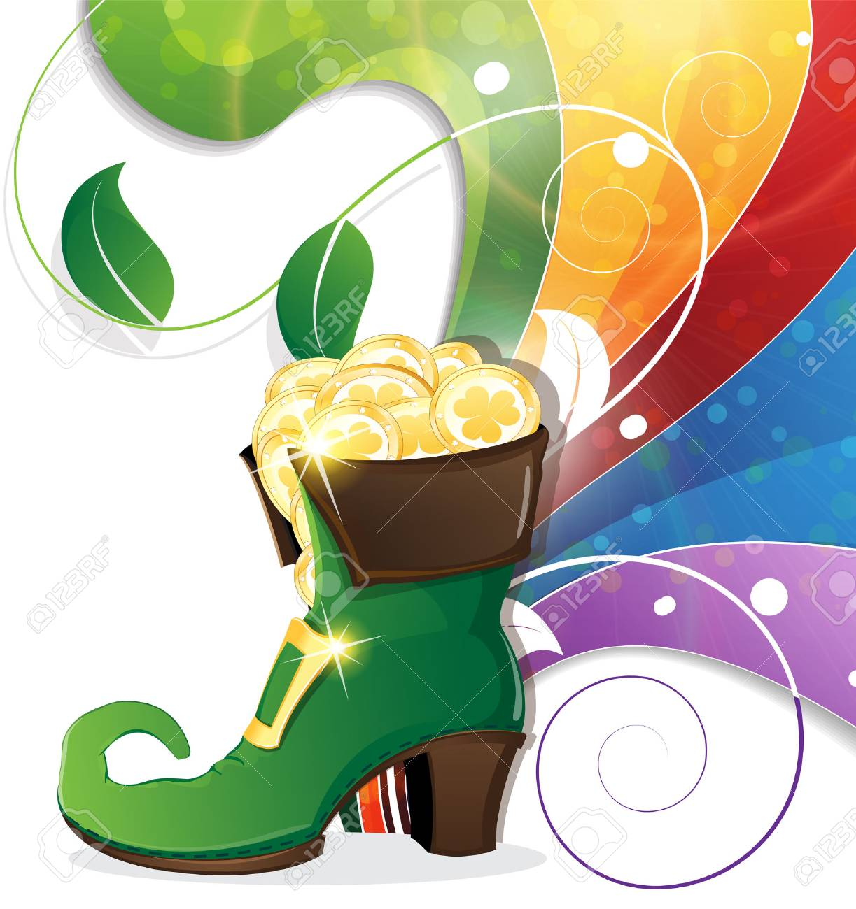 Leprechaun shoe with gold coins on rainbow background. St. Patrick - 37454582
