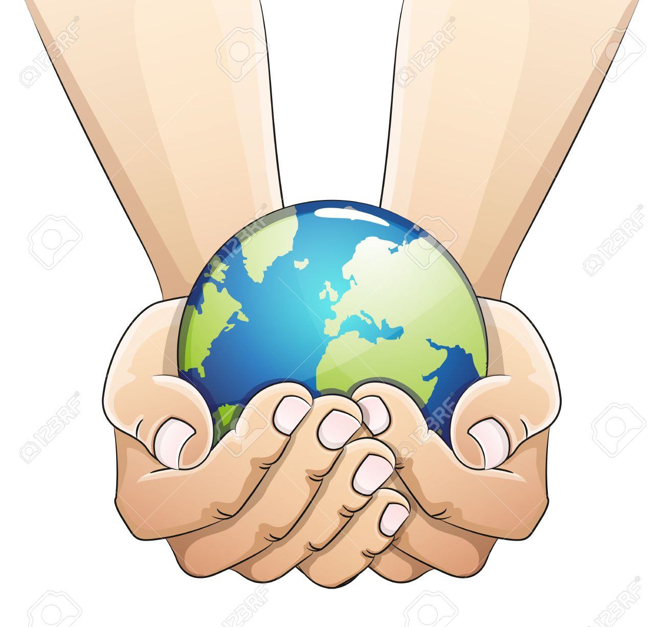 Hands holding the earth globe on white background. Saving the earth concept. Earth Day illustration. - 39543028