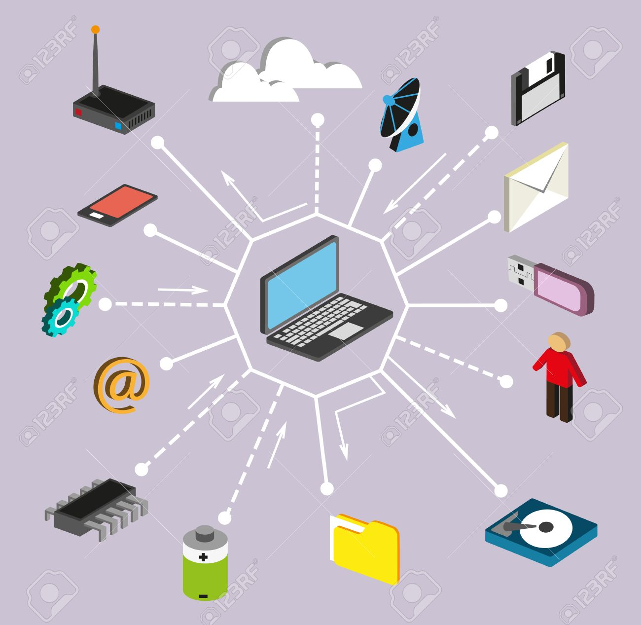 Computer technology, network and data processing. Set of infographics elements - 39543604
