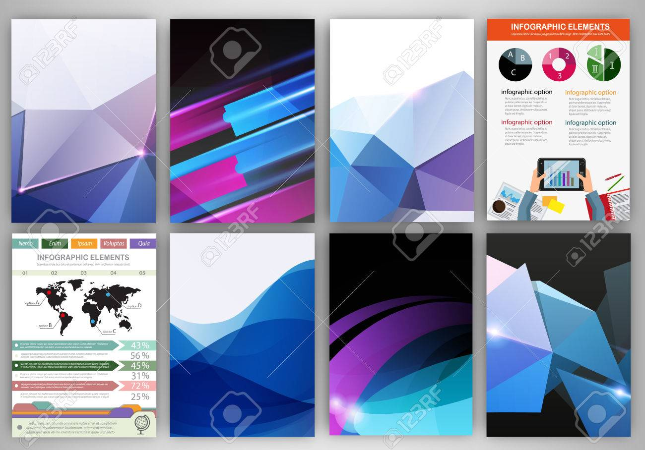 Abstract vector backgrounds and brochures for web and mobile applications. Business and technology infographic, icons, creative template design for presentation, poster, cover, booklet, banner. - 40594791