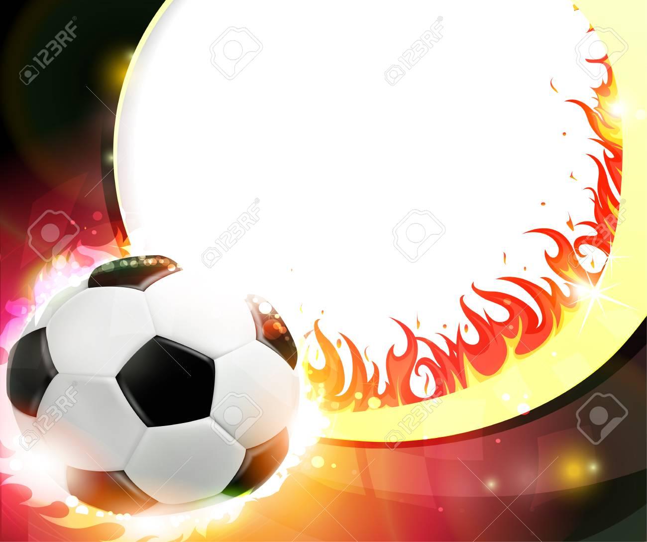 Foto de archivo - Llamas balón de fútbol sobre un fondo ardiente. Resumen  de fondo futbol. b01d010ea1ddb