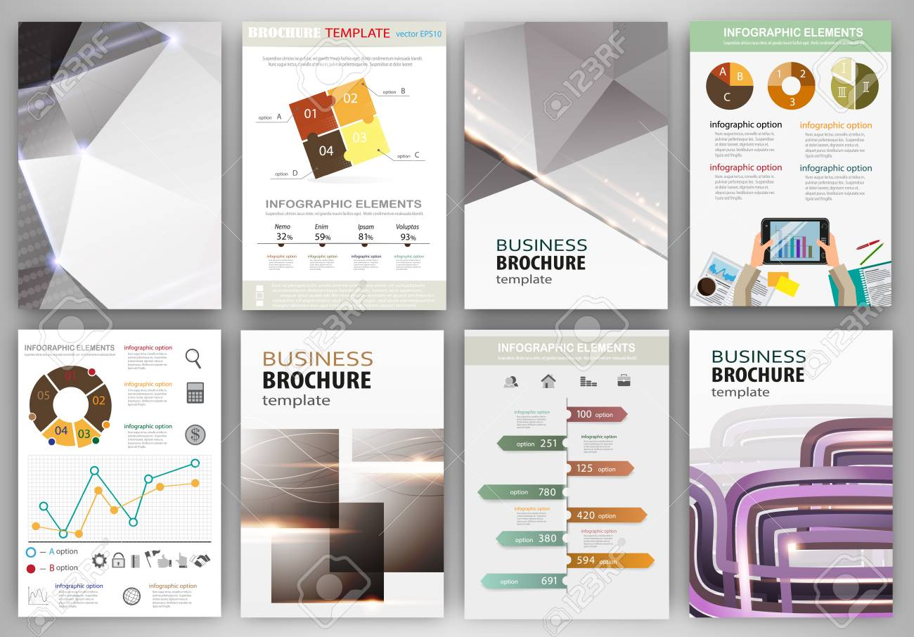 Abstract vector backgrounds and brochures for web and mobile applications. Business and technology infographic, icons, creative template design for presentation, poster, cover, booklet, banner. - 41366762