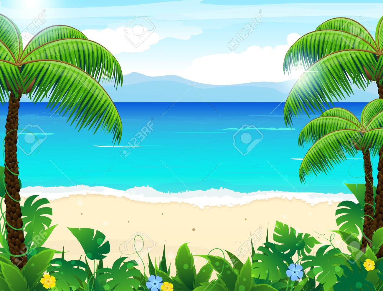 Sandy coast with palm trees and tropical vegetation - 41367267