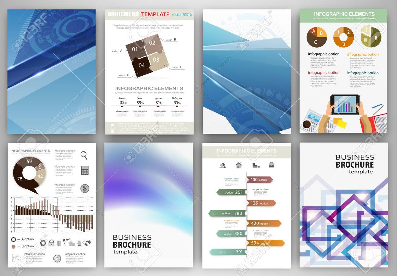 Abstract vector backgrounds and brochures for web and mobile applications. Business and technology infographic, icons, creative template design for presentation, poster, cover, booklet, banner. - 43267654