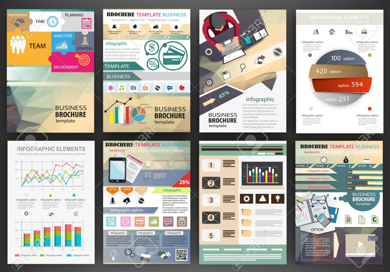 Abstract vector backgrounds and brochures for web and mobile applications. Business and technology infographic, icons, creative template design for presentation, poster, cover, booklet, banner. - 45629145