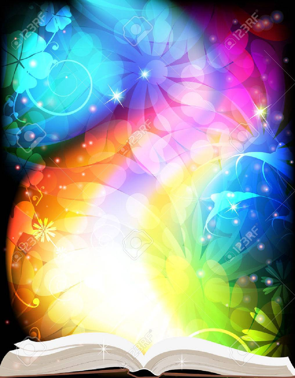 Open book of fairy tales on a rainbow floral background - 47655366