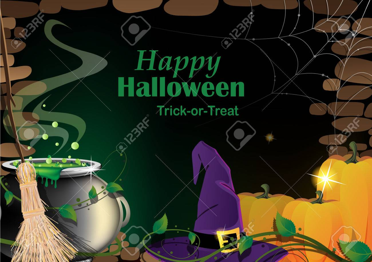 Magical accessories in a dark basement with cobweb. Abstract Halloween background - 47655368