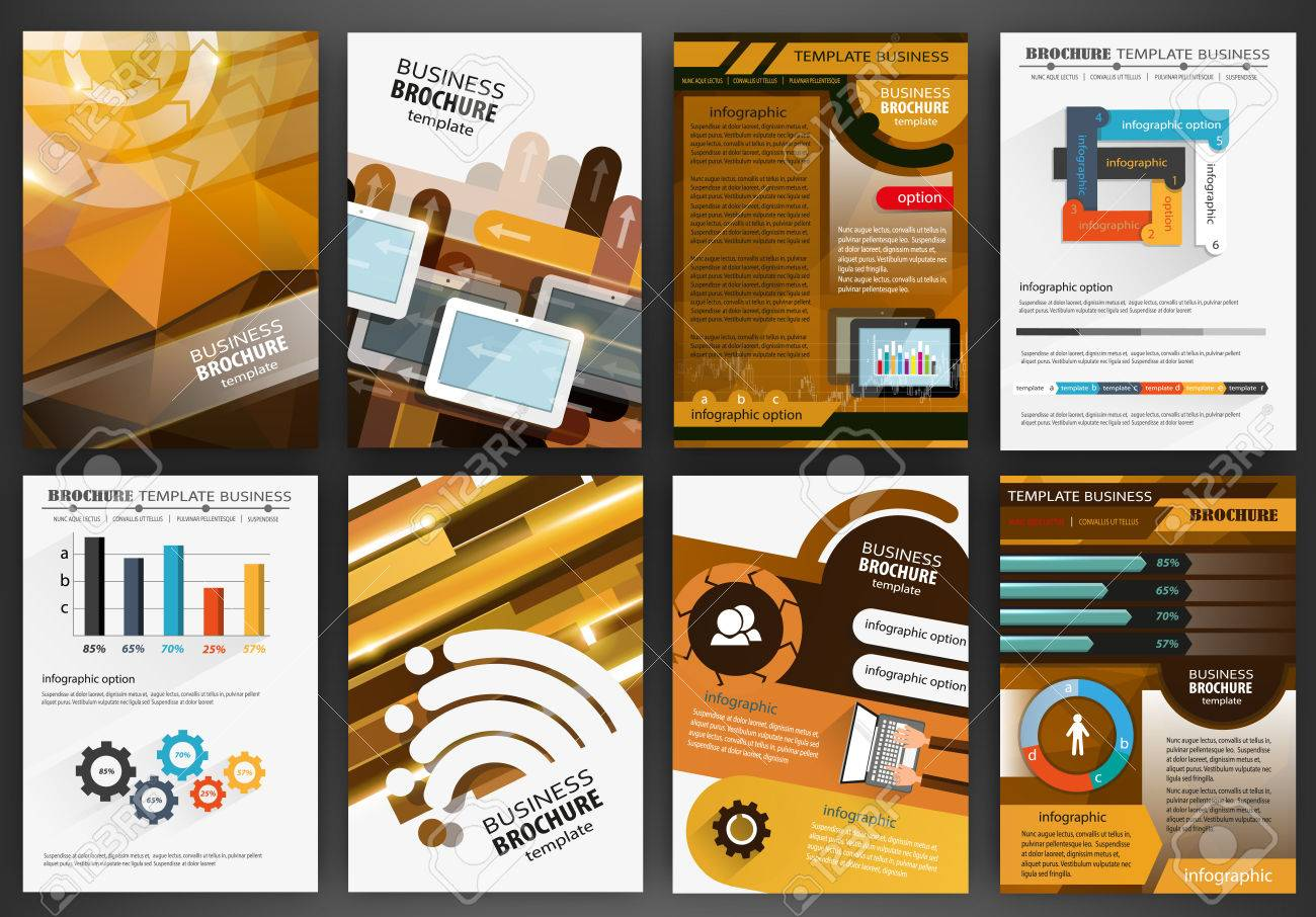 Abstract vector backgrounds and brochures for web and mobile applications. Business and technology infographic, icons, creative template design for presentation, poster, cover, booklet, banner. - 48450438