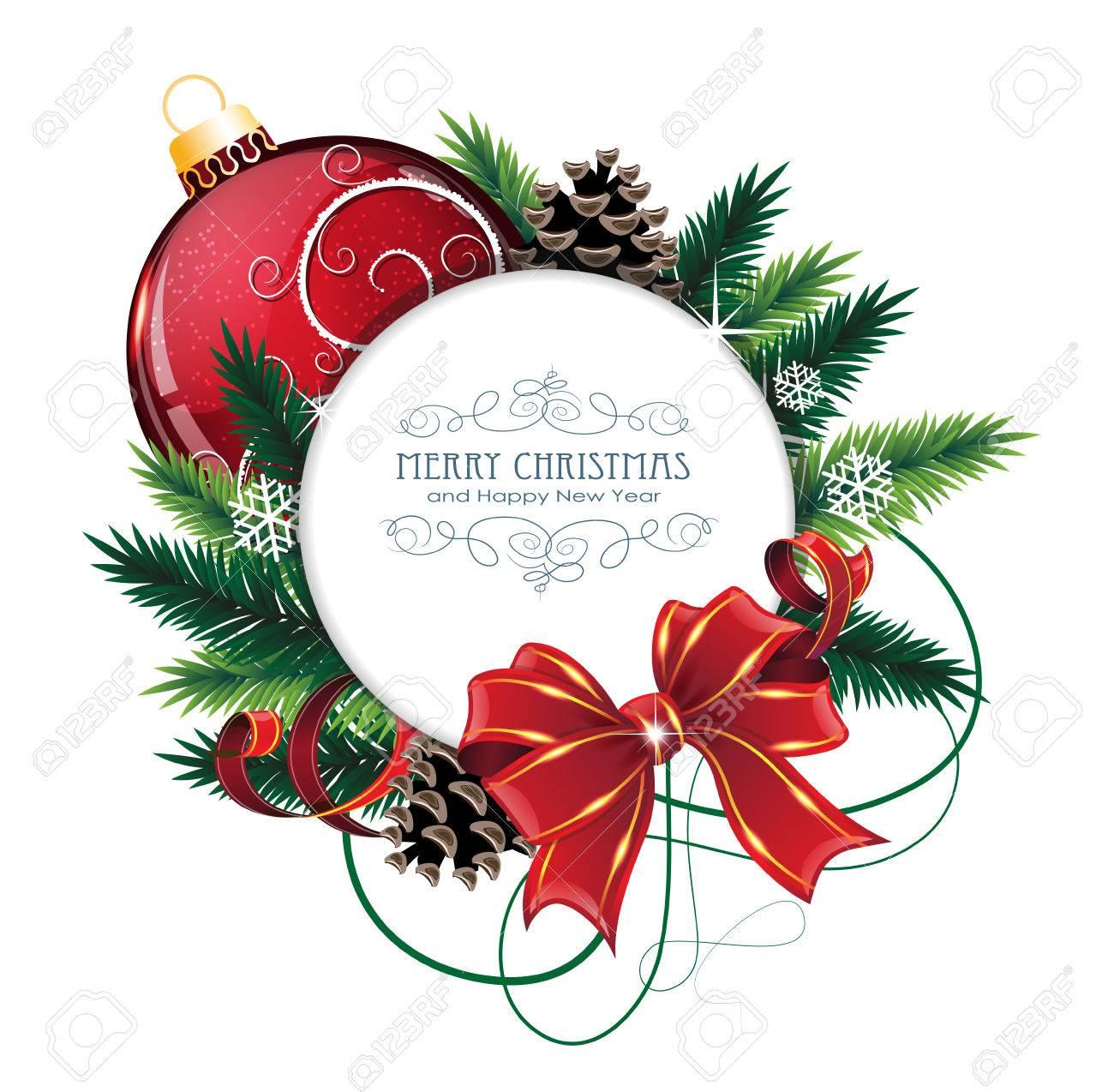 Ornements De Noël Avec Larc Ruban Et Sapin Branches Sur Fond Blanc