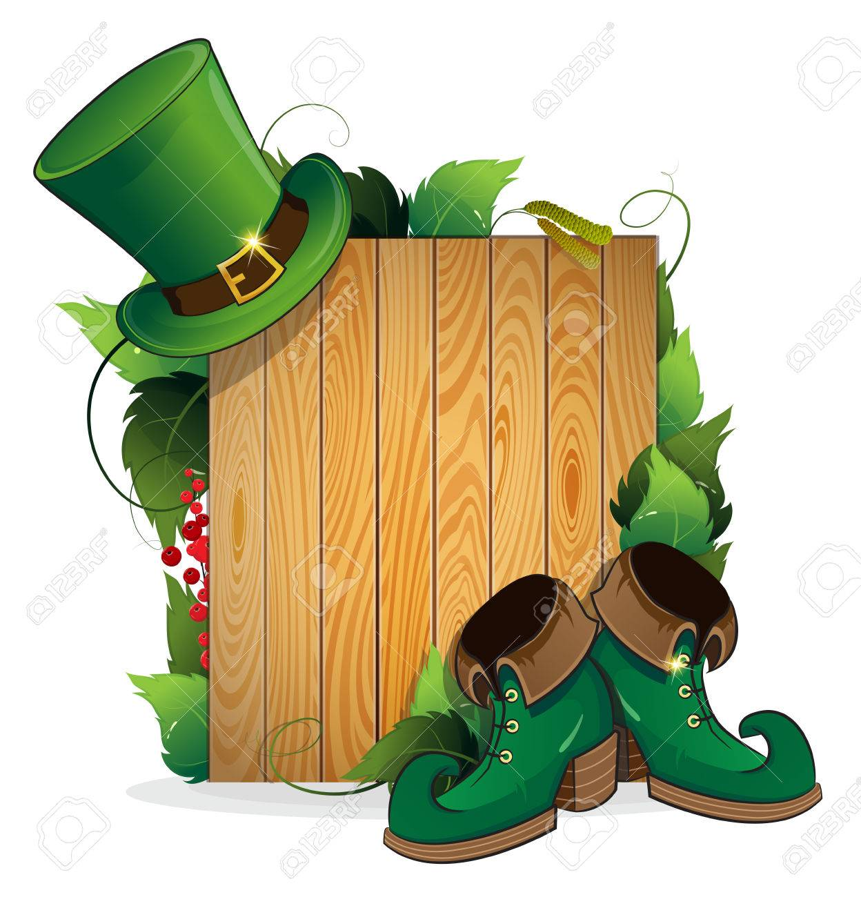 leprechaun shoes and bowler hat on wooden background st