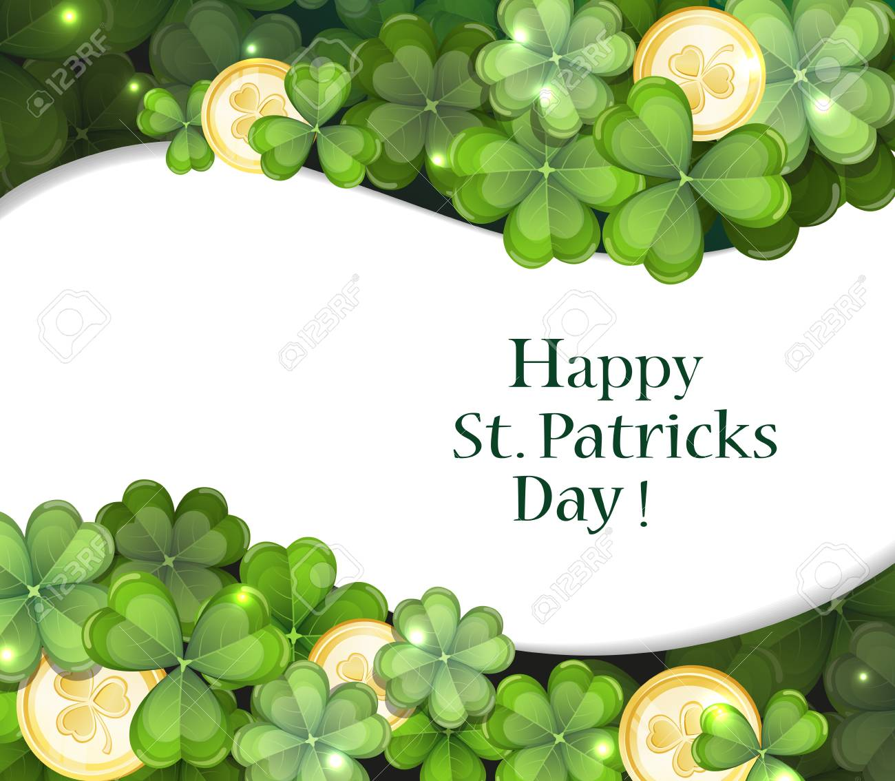 Leprechaun gold coins and clover. St. Patrick's Day background. - 53172778