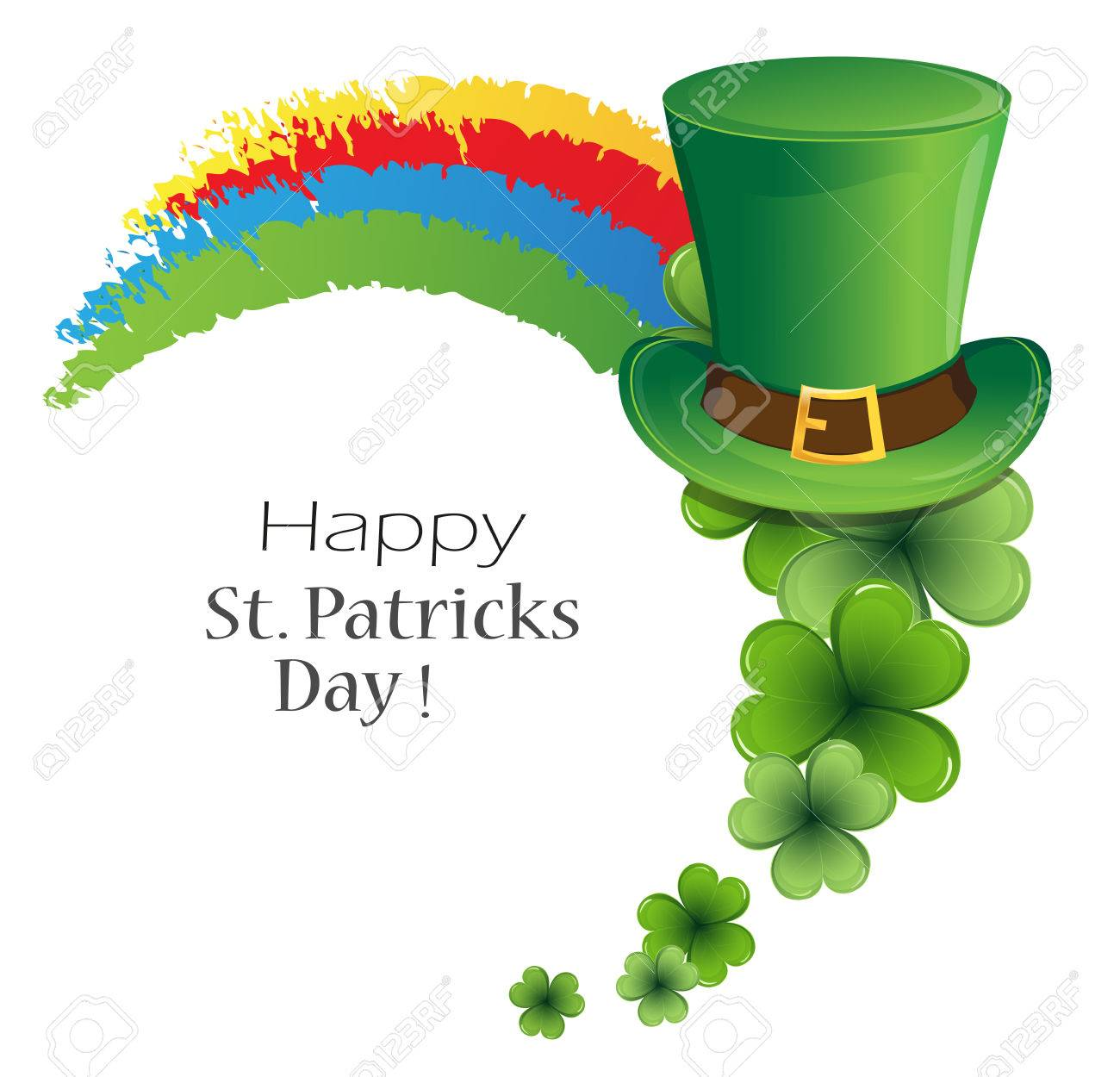 Rainbow, bowler hat and clover on white background. St. Patrick's Day symbol - 53172868