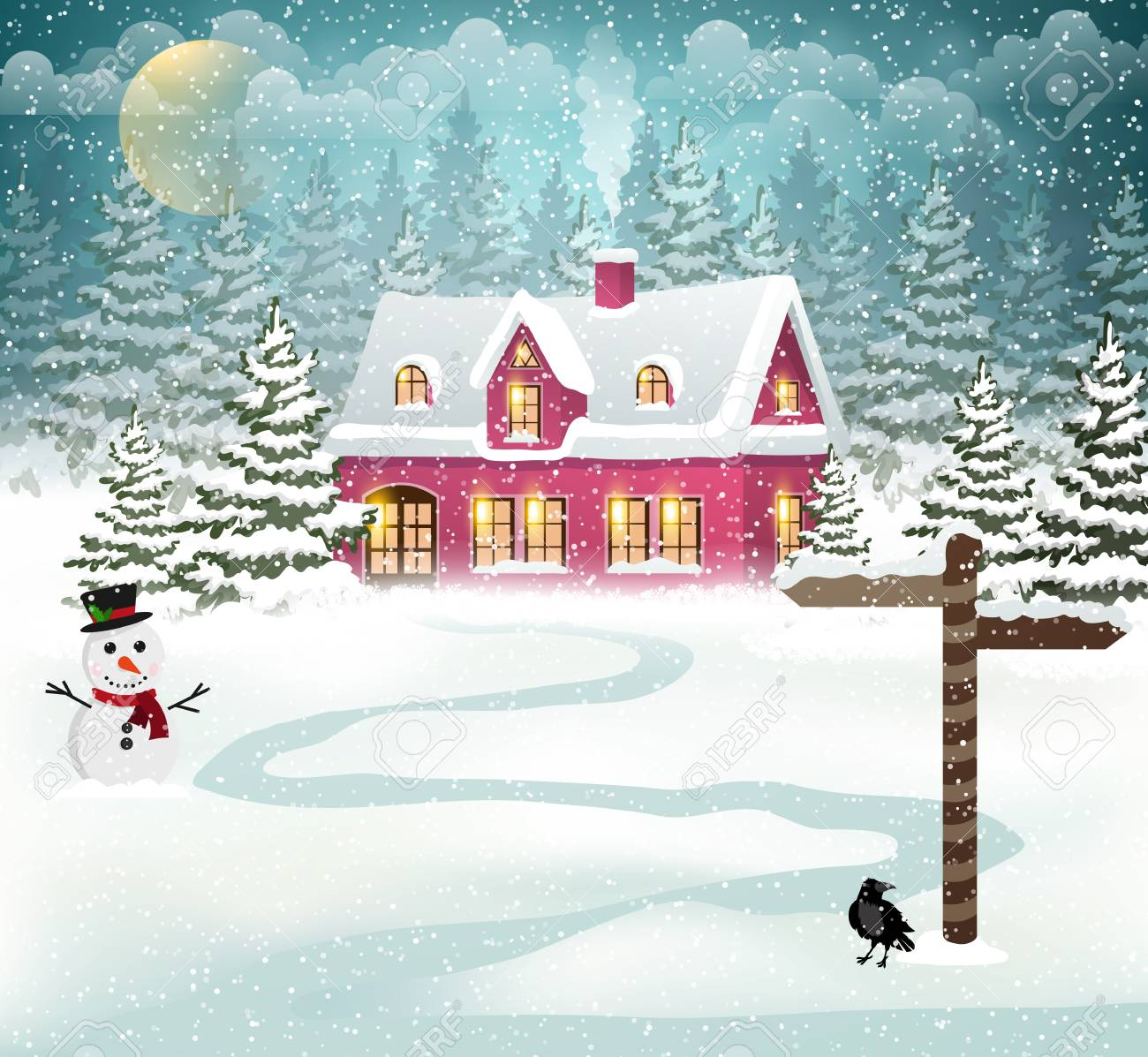 Winter village background with snow covered house and snowman - 67392516