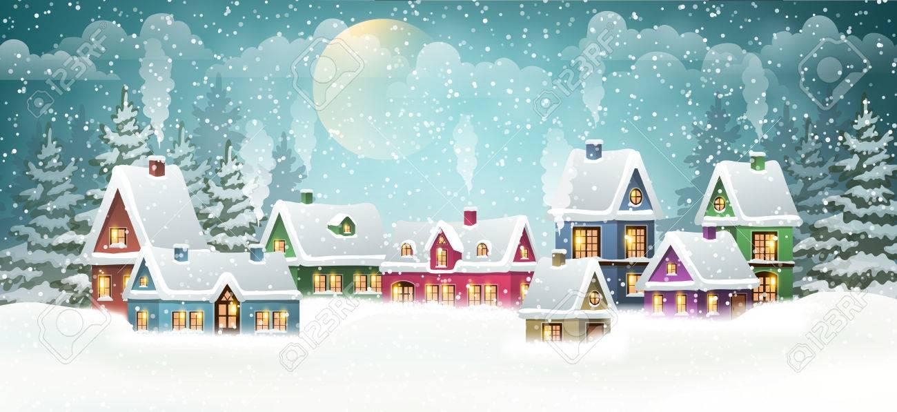 Winter village landscape with pine forest - 67392517