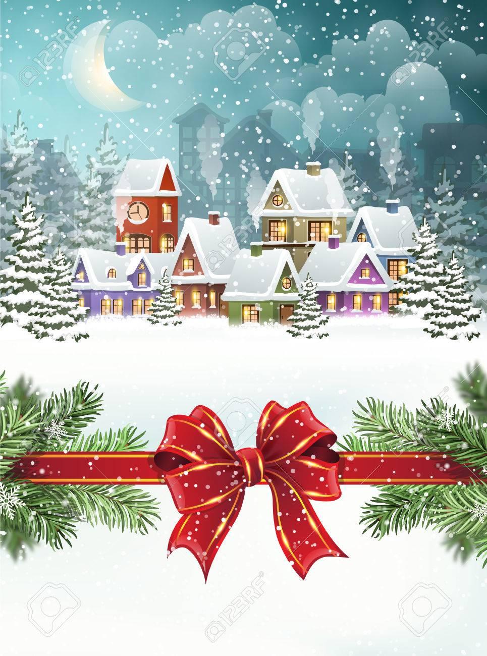 Immagini Di Natale Con La Neve.Paesaggio Invernale Citta Di Sera Coperto Con Neve Case E Rami Degli Alberi Di Natale Con L Arco