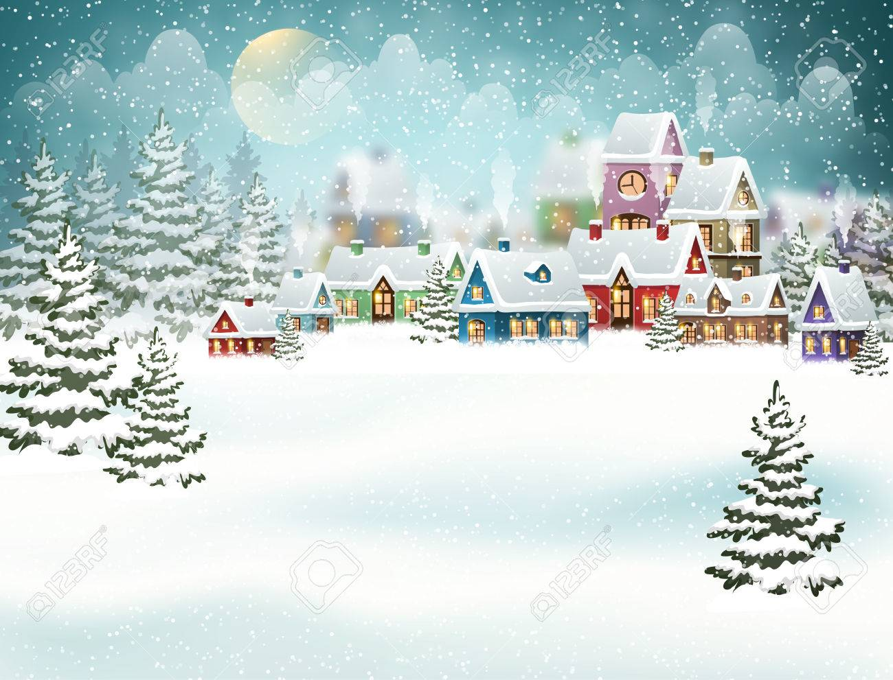 Winter village landscape with pine forest. Christmas vector illustration - 67782974