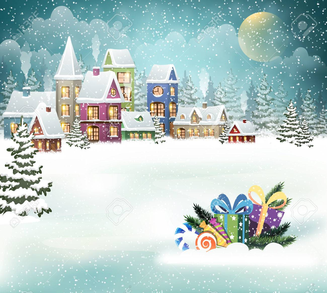 Winter holiday Christmas landscape with snowy village and Christmas presents - 67782977