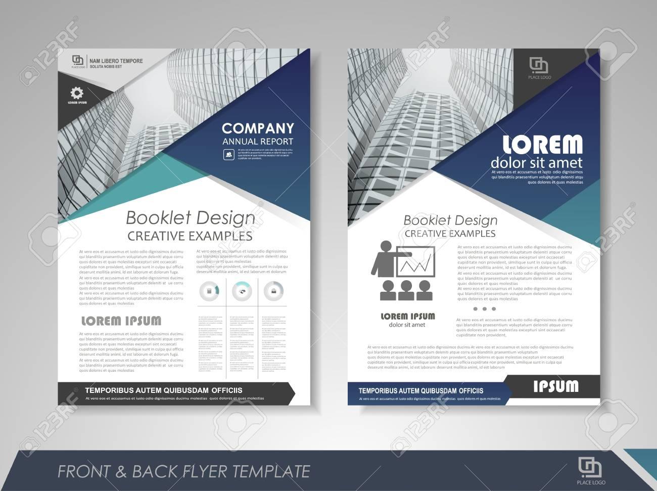 blue annual report brochure flyer design template leaflet cover