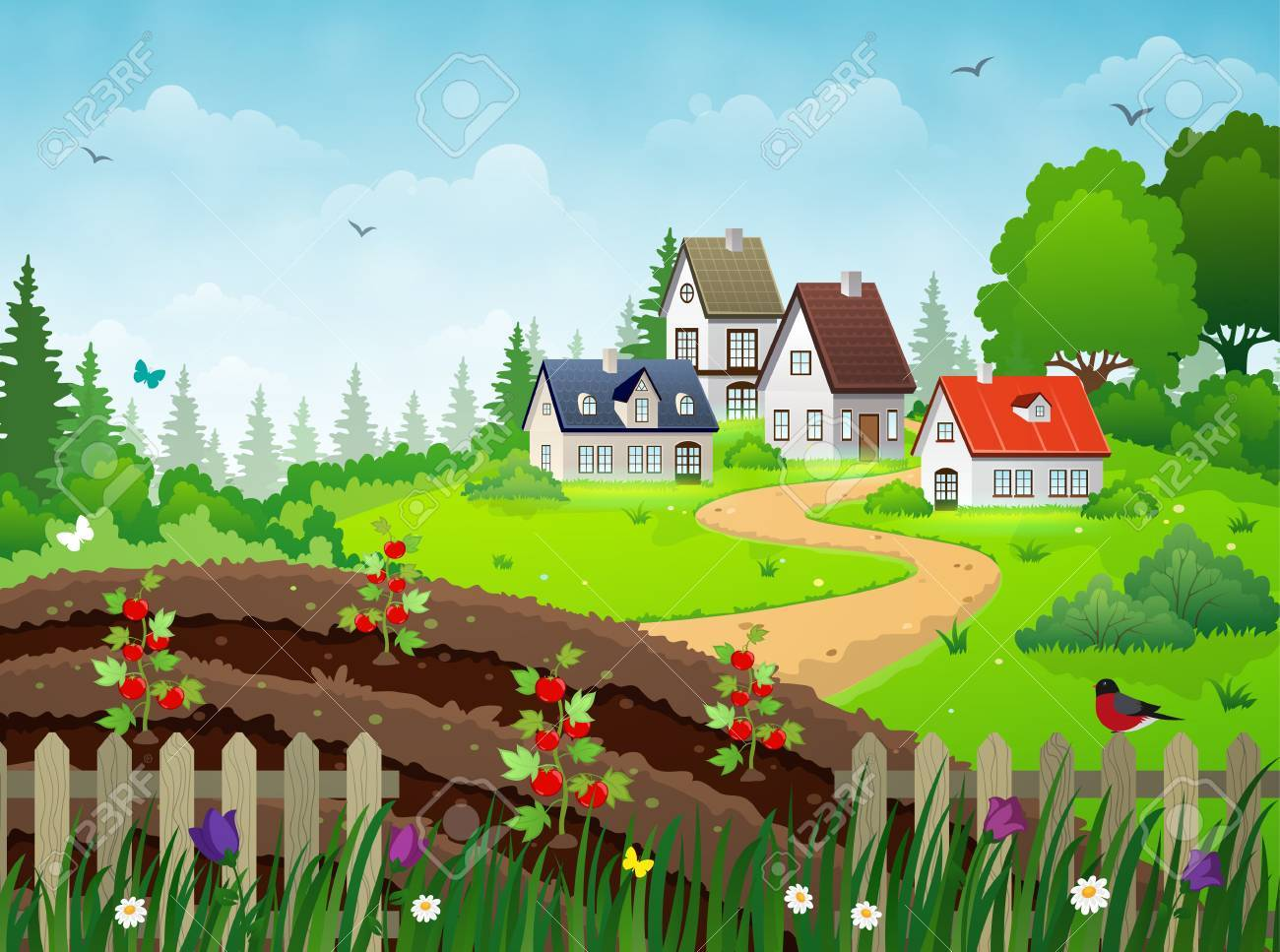 Countryside Village Landscape With Rural Houses, Vegetable Garden ...