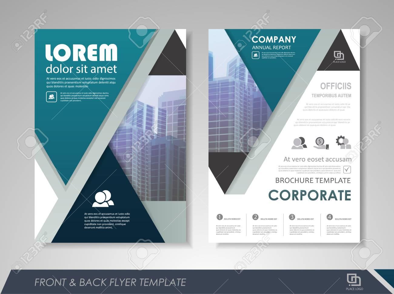 Blue Annual Report Leaflet Brochure Flyer Template Design Book