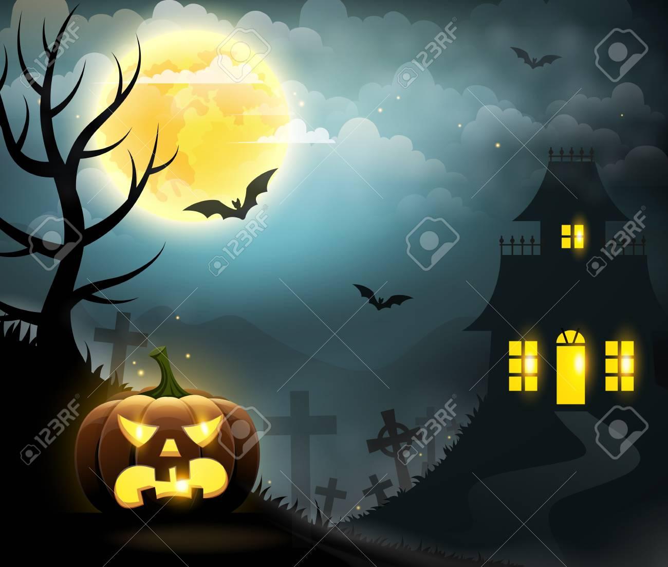 scary house, spooky pumpkin, full moon, graveyard and bats
