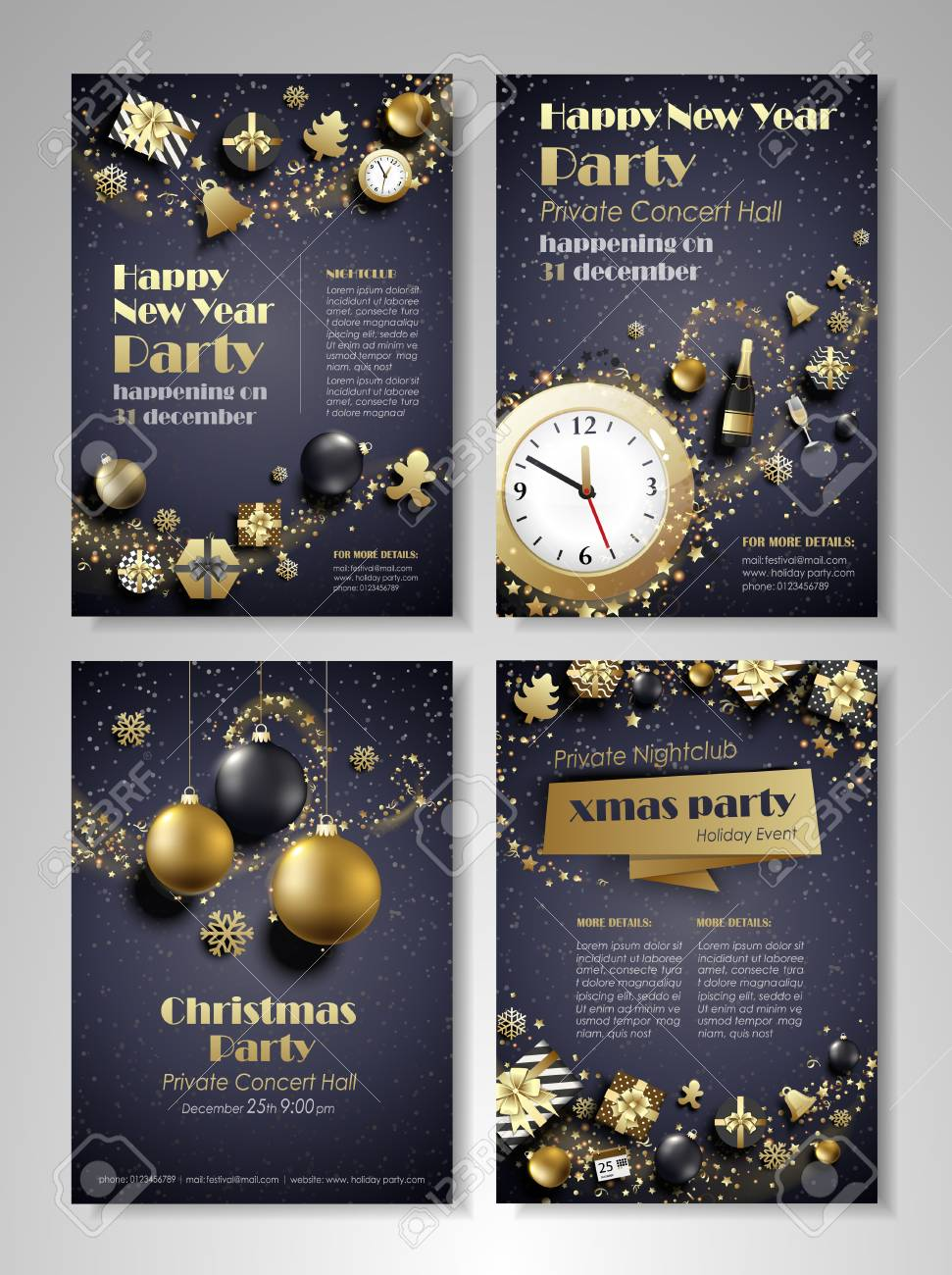 merry christmas and happy new year party flyer brochure holiday