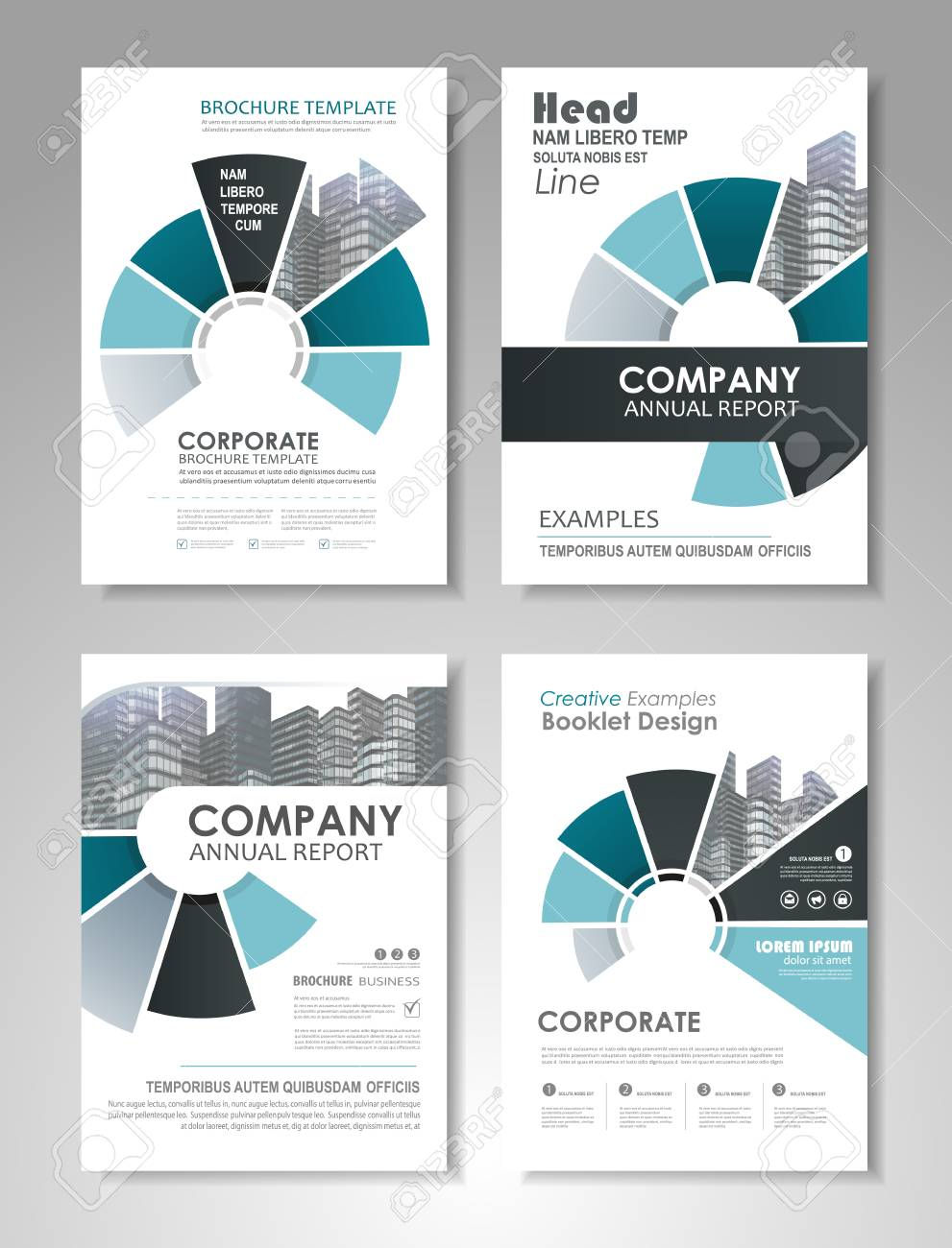blue presentation template set for business annual report corporate