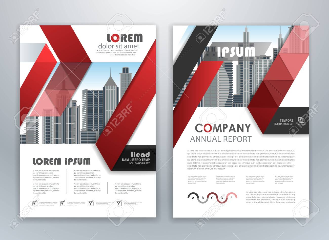 Red Annual Report Leaflet Brochure Flyer Template Design Book