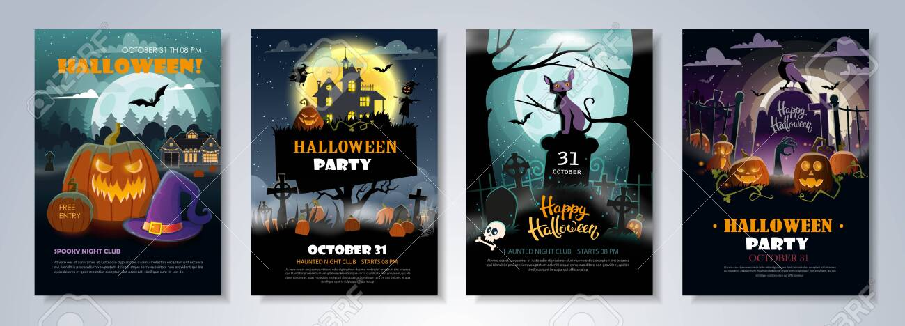 Set of Halloween Party Flyer Templates with scary night landscapes, pumpkins, graves and other halloween attributes for club, event, party or other advertising purposes. Seasonal party posters. Vector format. - 133310995