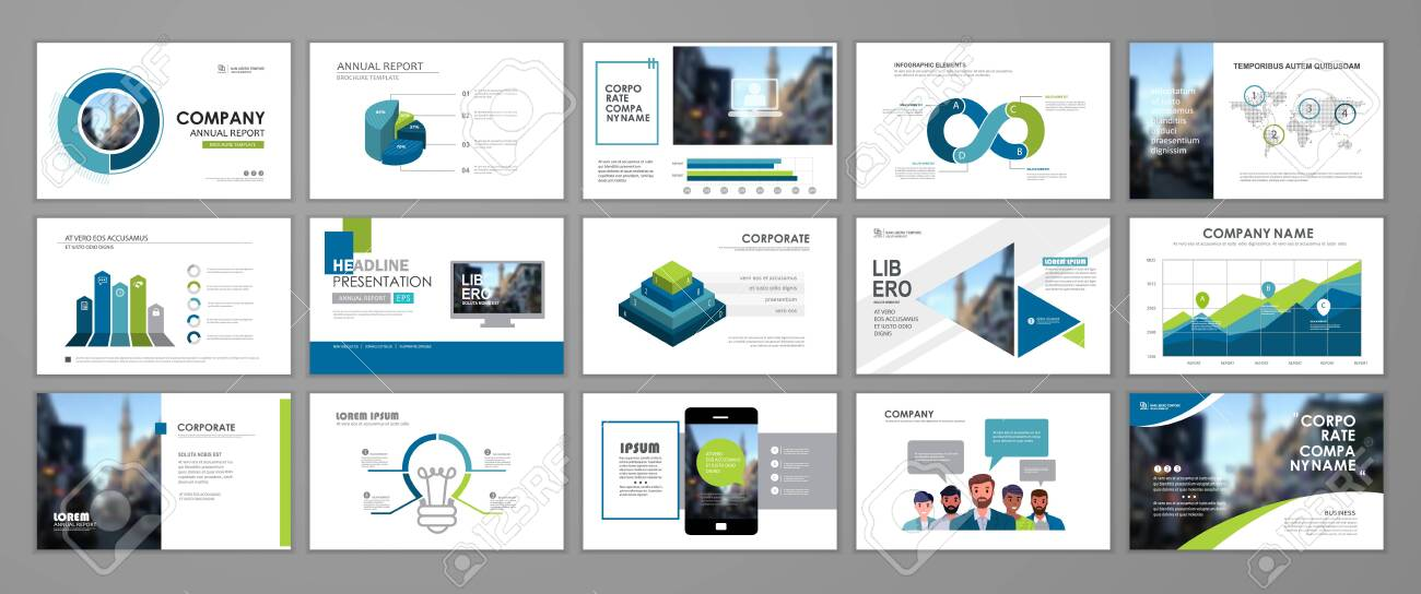 Presentation templates design. Vector templates portfolio with blue and green elements. Multipurpose template for brochure cover, annual report, advertising, presentation slide, flyer leaflet. - 150285798